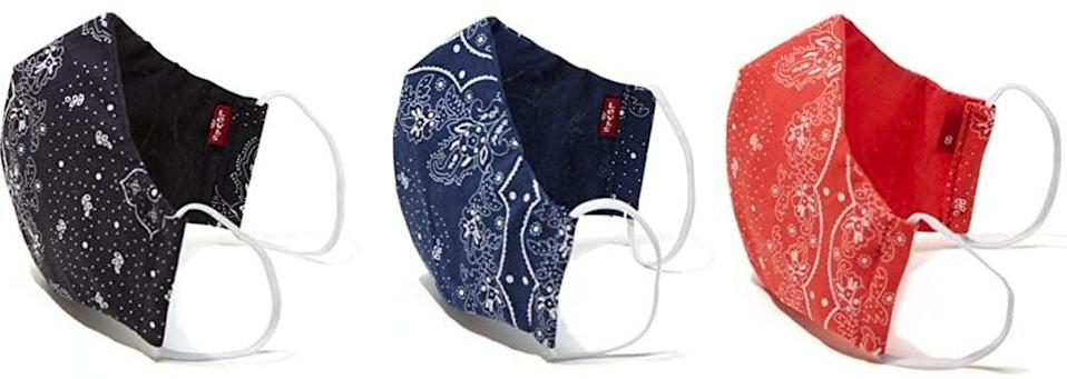 <p>We're very into the print on these <span>Levi's Re-Usable Bandana Print Reversible Face Masks</span> ($5).</p>