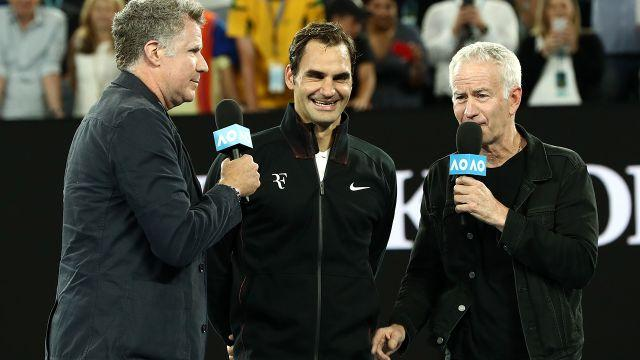 Ferrell and Federer cracked up the crowd on Tuesday night. Image: Getty