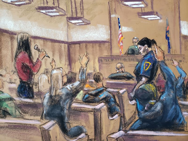 Potential jurors raise their hands and explain why they can't serve on the jury of film producer's Harvey Weinstein sexual assault trial