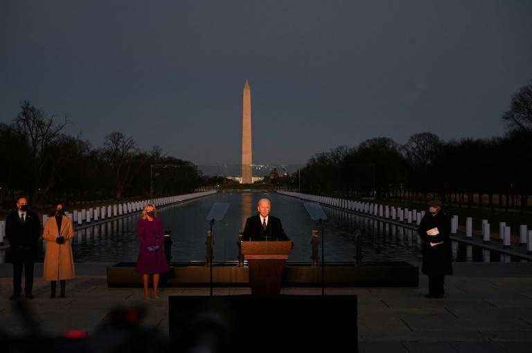 US President-elect Joe Biden speaks at a Covid-19 memorial event in Washington on the eve of his inauguration