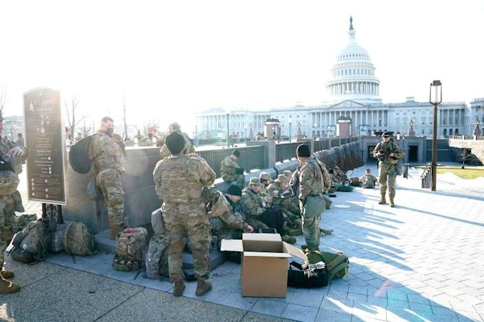 WASHINGTON, DC., JANUARY 13, 2021— The Virginia and District of Columbia National Guard are on-hand at the U.S. Capitol on Wednesday as the House moved forward with hearings on impeaching President Donald Trump. (Kirk McKoy / Los Angles Times)