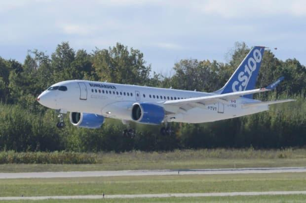 Bombardier's CSeries commercial jet takes off on its first flight in Montreal on Sept. 16, 2013. Rival Boeing filed a trade complaint with the U.S. Commerce Department in April 2017 alleging its business was being harmed because Bombardier's jet was unfairly subsidized by the Canadian government.