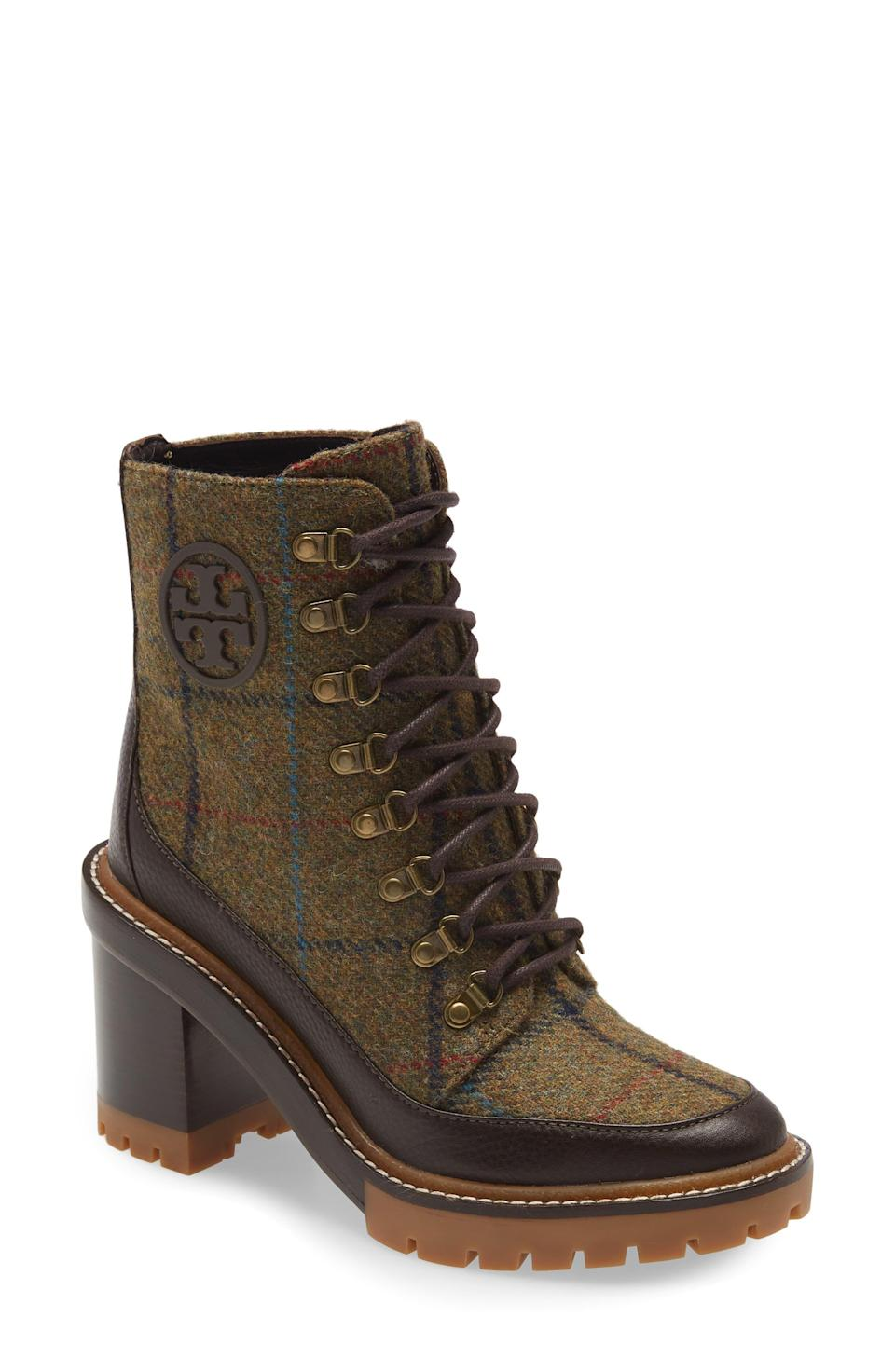 """<p><strong>Tory Burch</strong></p><p>nordstrom.com</p><p><strong>$498.00</strong></p><p><a href=""""https://go.redirectingat.com?id=74968X1596630&url=https%3A%2F%2Fwww.nordstrom.com%2Fs%2Ftory-burch-miller-lugged-wool-blend-leather-bootie-women%2F6430431&sref=https%3A%2F%2Fwww.townandcountrymag.com%2Fstyle%2Ffashion-trends%2Fg28225508%2Ffall-boots%2F"""" rel=""""nofollow noopener"""" target=""""_blank"""" data-ylk=""""slk:Shop Now"""" class=""""link rapid-noclick-resp"""">Shop Now</a></p><p>We love a good plaid style for fall and this lug soled look adds some cool modern edge</p>"""