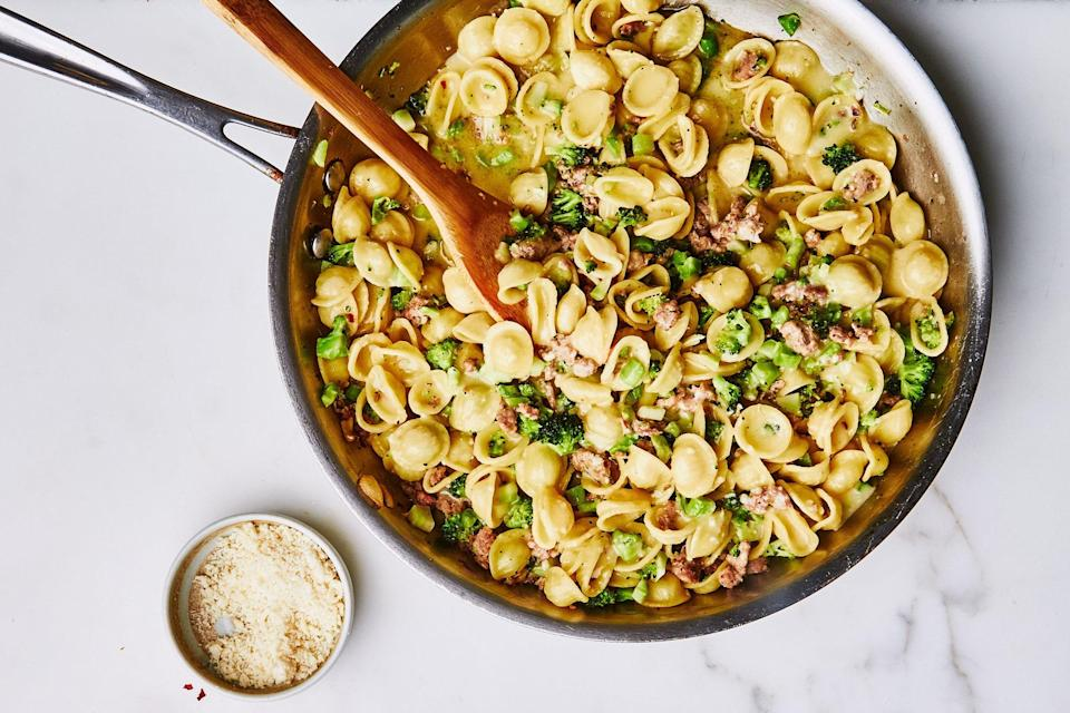"""Blanch chopped broccoli before cooking your pasta in the same water, then toss the whole thing with crumbled sausage and plenty of chile flakes, butter, and Parmesan. <a href=""""https://www.epicurious.com/recipes/food/views/broccoli-bolognese-with-orecchiette?mbid=synd_yahoo_rss"""" rel=""""nofollow noopener"""" target=""""_blank"""" data-ylk=""""slk:See recipe."""" class=""""link rapid-noclick-resp"""">See recipe.</a>"""