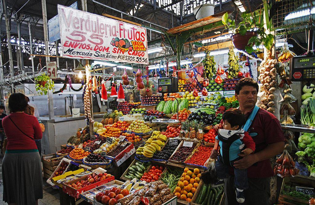 Market Hall with fruits and vegetables in downtown Buenos Aires, Argentina.