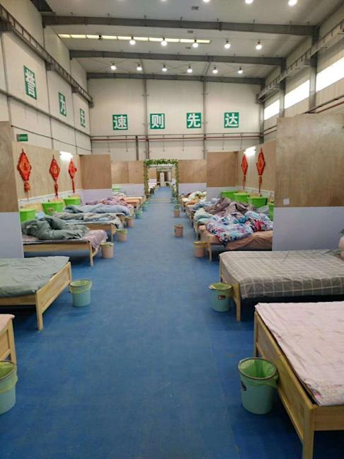 The Wuhan Fang Cang makeshift hospital where Kang worked for one day before quitting, after he discovered staff were not being given adequate protective gear.