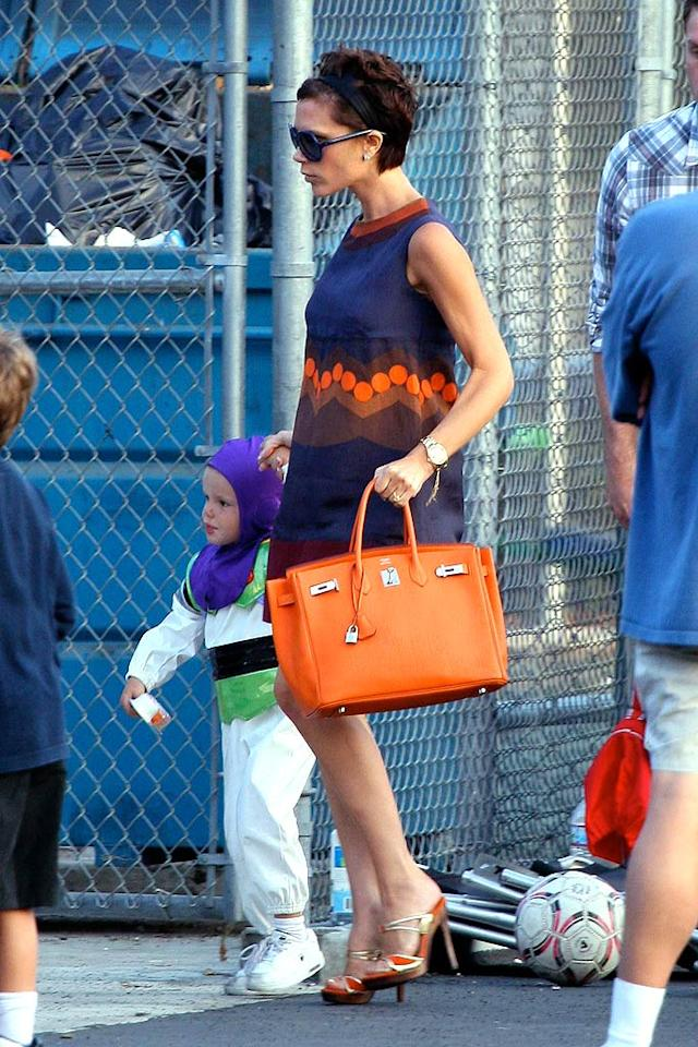 "Perhaps Posh Beckham has a $7,500 Hermes Birkin bag to match each and every outfit? Must be nice. Leo-Mariotto/<a href=""http://www.x17online.com"" target=""new"">X17 Online</a> - September 13, 2008"