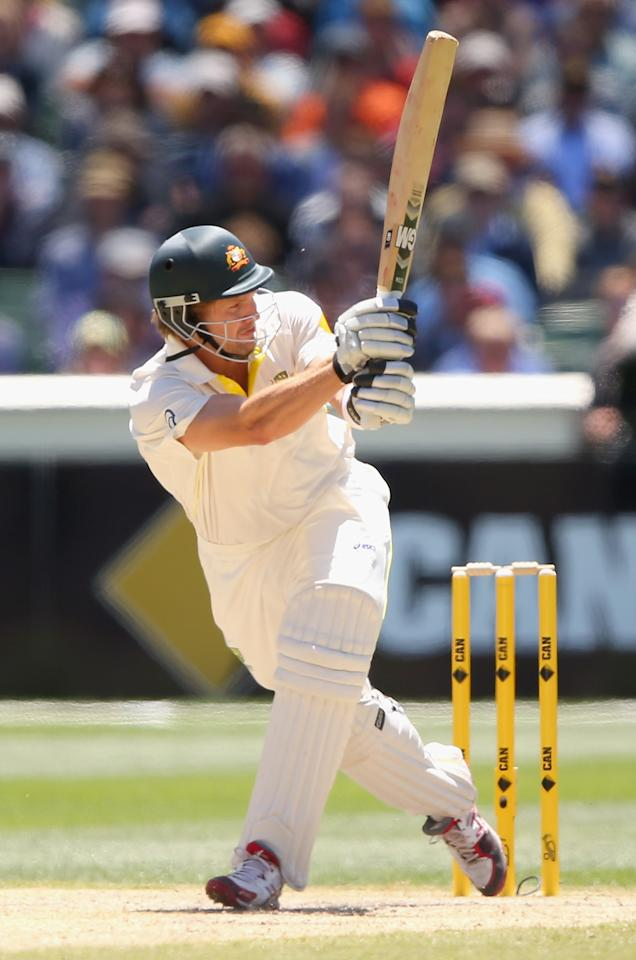 MELBOURNE, AUSTRALIA - DECEMBER 29:  Shane Watson of Australia bats during day four of the Fourth Ashes Test Match between Australia and England at Melbourne Cricket Ground on December 29, 2013 in Melbourne, Australia.  (Photo by Quinn Rooney/Getty Images)