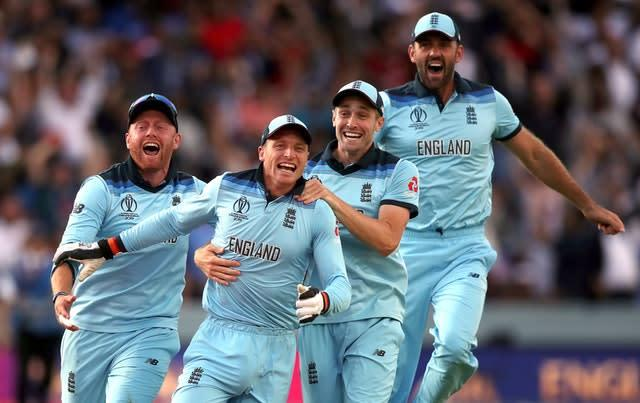 Jos Buttler, second left, leads the celebrations in July after England won the World Cup by beating New Zealand at Lord's. The hosts won the competition for the first time in a final which will go down as one of the most dramatic ever produced in team sport. With the match tied after 50 overs each, a tense Super Over also finished level, with Trevor Bayliss' team victorious on the boundary count back rule (Nick Potts/PA)