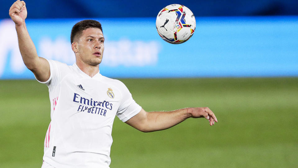 Luka Jovic, pictured here in action for Real Madrid in La Liga.
