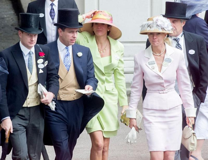 Maxwell (in green dress) at Royal Ascot in 2000, with Prince Andrew (second from left) and Jeffrey Epstein (far right).