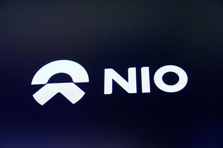 Chinese electric vehicle start-up Nio Inc. company logo is on display on its initial public offering (IPO) day at the NYSE in New York, U.S., September 12, 2018.  REUTERS/Brendan McDermid