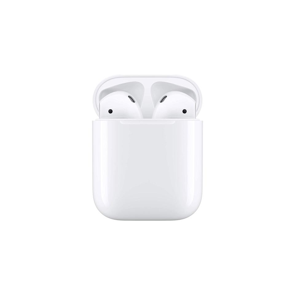 """Stay up on your podcast game with the help of a new pair of AirPods that will let you say goodbye to tangled cords for good. $159, Amazon. <a href=""""https://www.amazon.com/Apple-AirPods-Charging-Latest-Model/dp/B07PXGQC1Q/ref=sr_1_1_sspa?"""" rel=""""nofollow noopener"""" target=""""_blank"""" data-ylk=""""slk:Get it now!"""" class=""""link rapid-noclick-resp"""">Get it now!</a>"""