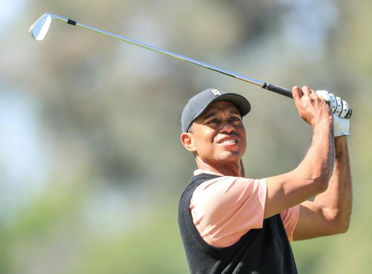 Tiger Woods on the way to a two-under par 69 that left him five shots off the first-round lead in the Genesis Invitational at Riviera Country Club