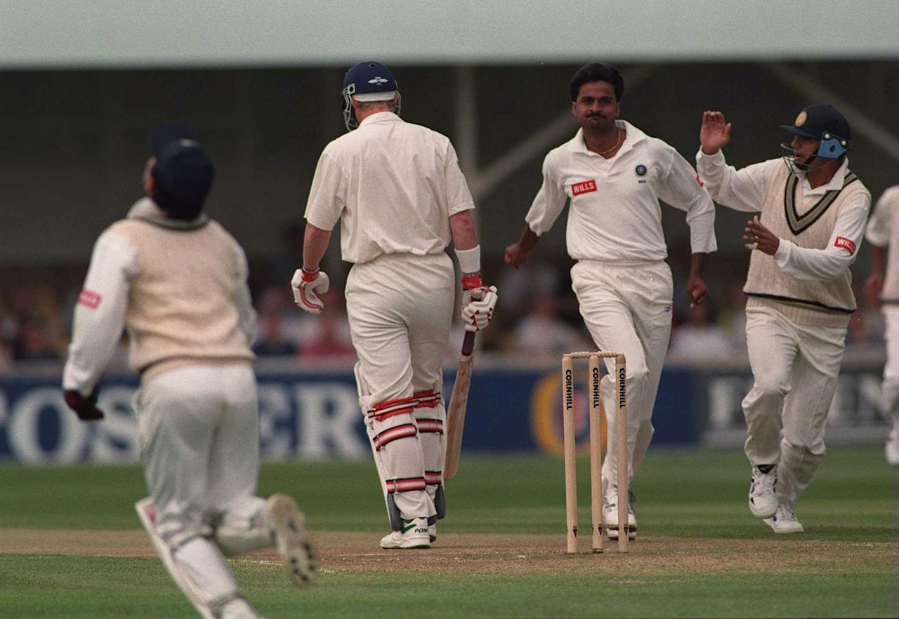 7 Jun 1996:  Javagal Srinath of India celebrates the wicket of Nick Knightof England, caught by Mongia for 27 during the second days play in the First England v India Cornhill Test Match at Edgbaston. Mandatory Credit: Graham Chadwick/ALLSPORT