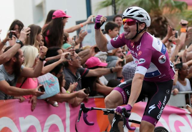 Cycling - the 101st Giro d'Italia cycling race - The 229-km Stage 3 from Beersheba to Eilat, Israel - May 6, 2018 - Team Quick-Step rider Elia Viviani of Italy reacts as he wins the 3rd stage in Eilat, Israel. REUTERS/Nir Keidar