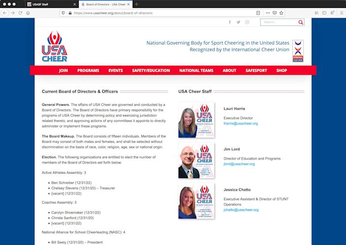 Lauri Harris was listed as executive director of USA Cheer on the organization's website as of Sept. 15, 2020, shown by this screen grab.