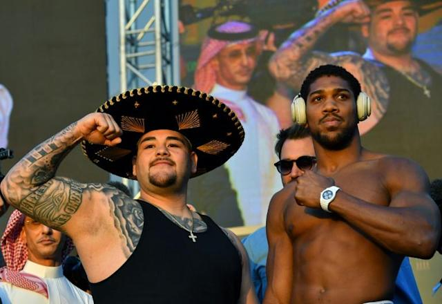 Ruiz and Joshua at the weigh-in ahead of controversial rematch (AFP Photo/Giuseppe CACACE)