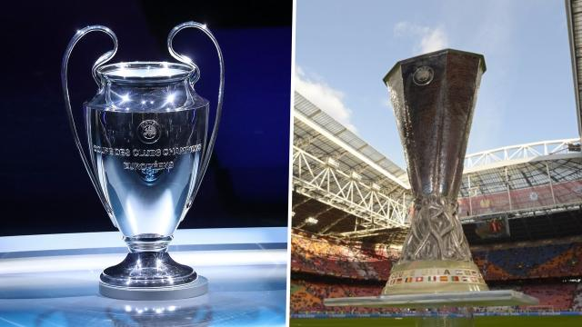 Champions League Europa League trophy