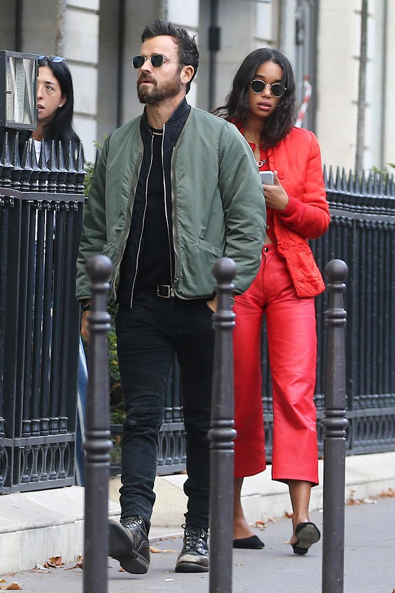 Justin Theroux Steps Out with Spider-Man Actress Laura Harrier in Paris