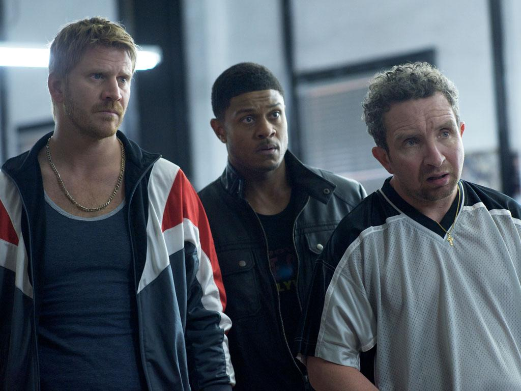 "Dash Mihok as Bunchy Donovan, Pooch Hall as Daryll, and Eddie Marsan as Terry Donovan in the series premiere of Showtime's ""Ray Donovan."""