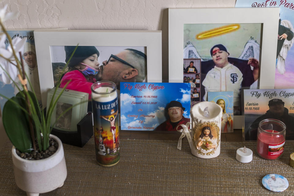 A memorial for Jerry Ramos sits at his home in Watsonville, Calif., Sunday, June 6, 2021. He died Feb. 15 at age 32, becoming not just one of the roughly 600,000 Americans who have now perished in the outbreak but another example of the virus's strikingly uneven and ever-shifting toll on the nation's racial and ethnic groups. (AP Photo/Nic Coury)