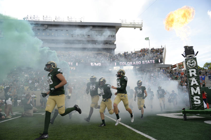 The Colorado State Rams take the field to play the Hawai'i Rainbow Warriors at Canvas Stadium on August 25, 2018. (Photo by Andy Cross/The Denver Post via Getty Images)