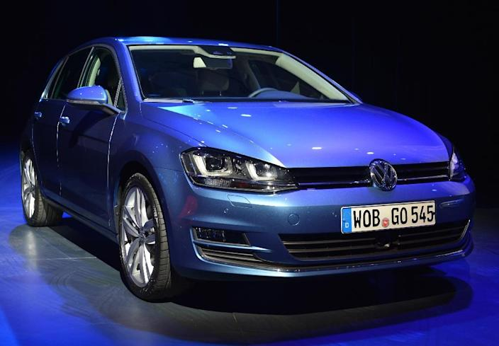 The Volkswagen Golf, winner of the 2013 World Car of the Year Award, is seen during the second press preview day at the New York International Automobile Show March 28, 2013 in New York (AFP Photo/Stan Honda)