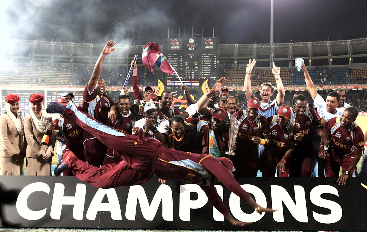 COLOMBO ,SRI LANKA - OCTOBER 7:  West Indies celebrates after defeating Sri Lanka in the ICC  World Twenty20 2012 Final between Sri Lanka and West Indies at R. Premadasa Stadium on October 7, 2012 in Colombo, Sri Lanka.(Photo by Graham Crouch-ICC/ICC via Getty Images)
