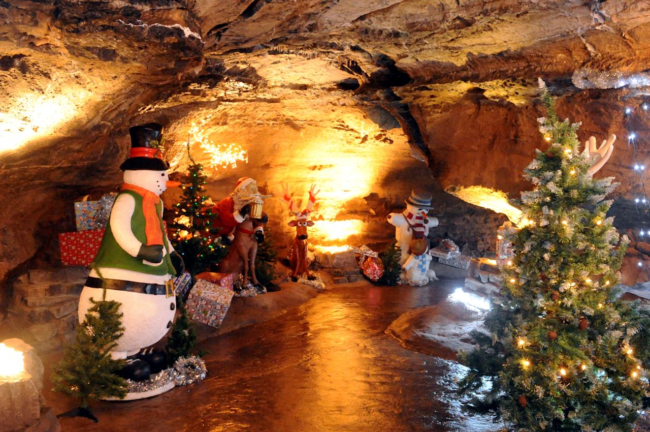 <p>For a Santa's grotto with a difference, head deep underground into the magical caves in the Brecon Beacons. Dan-yr-Ogof Cave and Cathedral Cave Christmas Experience allows children to step right into a Welsh mountain with its ancient caverns – and meet Santa at the same time. Don't miss one of the world's largest collections of life-sized dinosaur models. From £14 for adults, including a hot drink and mince pie, £11 for children aged 3-12 and £6 for children aged 2 and under, including a visit to see Santa and a gift. <em>[Photo: National Showcaves Centre]</em> </p>