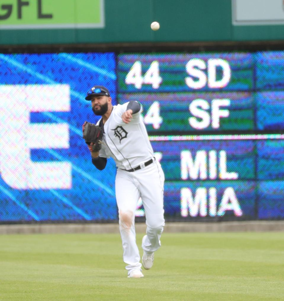 Detroit Tigers outfielder Nomar Mazara throws toward the infield during a game vs. the Minnesota Twins Saturday, May 8, 2021 at Comerica Park in Detroit.