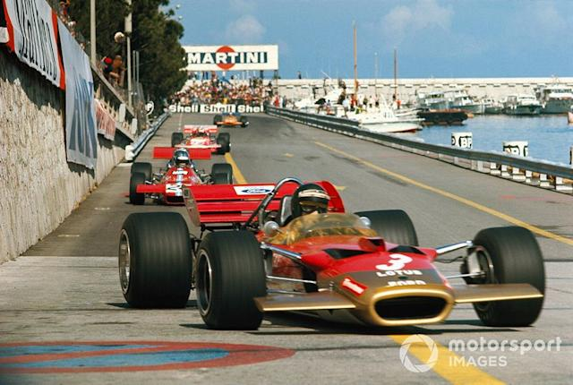 """Jochen Rindt, Lotus 49C Ford leads Piers Courage, De Tomaso 308 Ford <span class=""""copyright"""">Rainer W. Schlegelmilch</span>"""