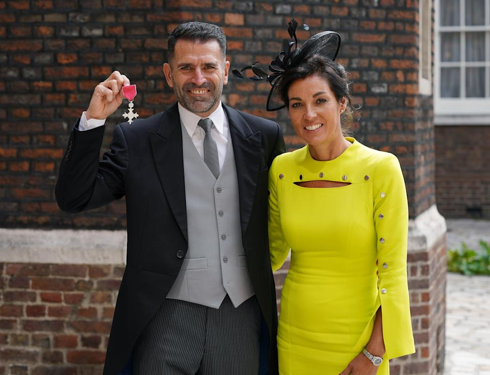 The former Southampton player was joined by his wife Karen (Yui Mok/PA) (PA Wire)