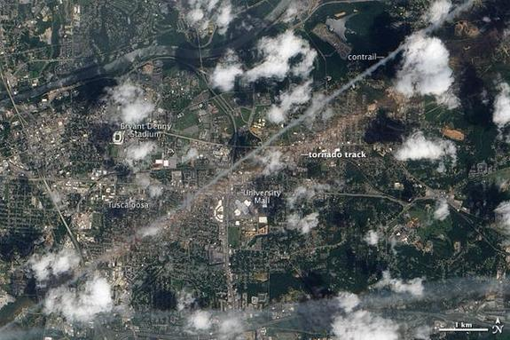 The track of devestation from the Birmingham tornado, one of the 753 tornadoes that struck during April 2011.