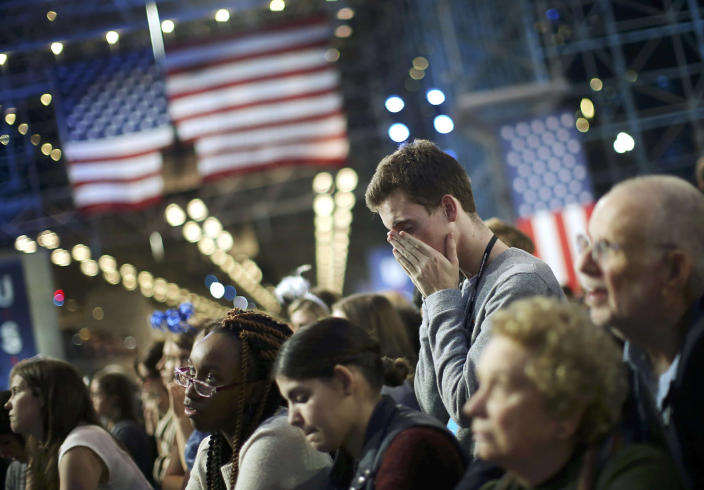 <p>Supporters of Democratic U.S. presidential nominee Hillary Clinton watch state by state returns at her election night rally in New York, Nov. 8, 2016. (Photo: Carlos Barria/Reuters) </p>