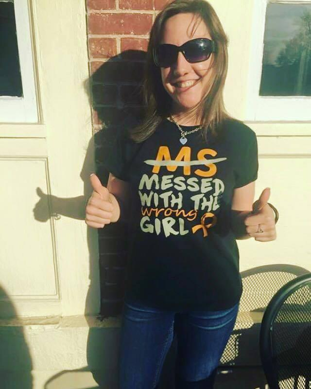 "Lyndsay Wright in her ""MS messed with the wrong girl"" T-shirt. (Photo: Courtesy of Lyndsay Wright)"