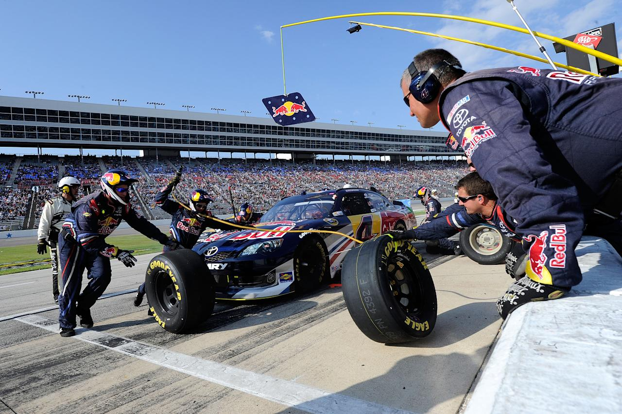 FORT WORTH, TX - NOVEMBER 06:  Kasey Kahne, driver of the #4 Red Bull Toyota, pits during the NASCAR Sprint Cup Series AAA Texas 500 at Texas Motor Speedway on November 6, 2011 in Fort Worth, Texas.  (Photo by John Harrelson/Getty Images for NASCAR)