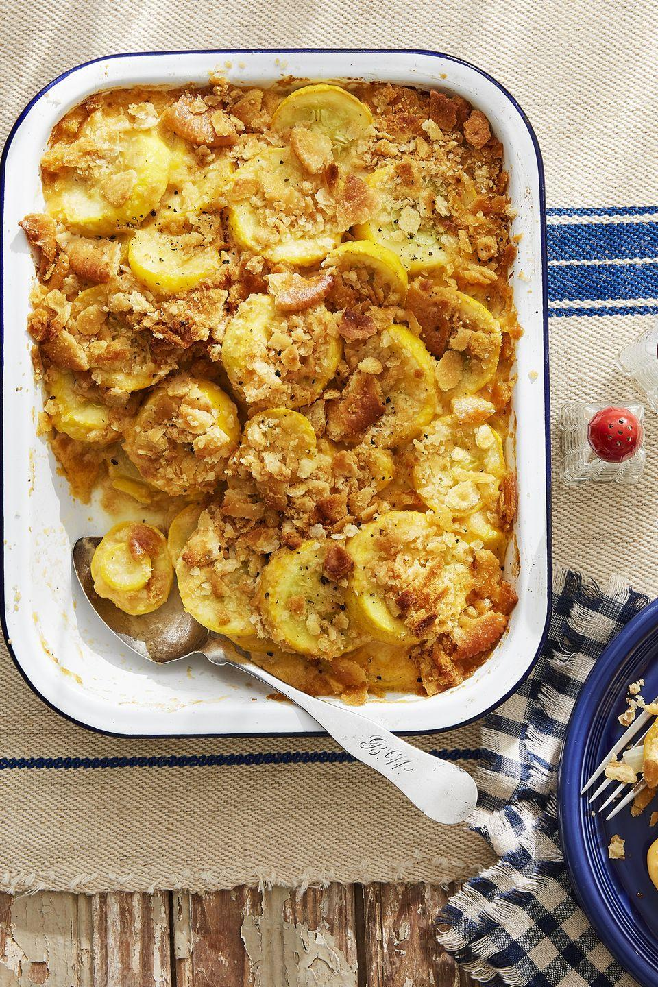 "<p>Butternut isn't the only squash worth talking about this Thanksgiving. This summer squash casserole is just as hearty and delicious as its orange counterpart. </p><p><strong><a href=""https://www.countryliving.com/food-drinks/recipes/a45275/squash-casserole-recipe/"" rel=""nofollow noopener"" target=""_blank"" data-ylk=""slk:Get the recipe"" class=""link rapid-noclick-resp"">Get the recipe</a>.</strong></p><p><a class=""link rapid-noclick-resp"" href=""https://www.amazon.com/Good-Cook-04489-OvenFresh-Stoneware/dp/B00YC2QGYQ?tag=syn-yahoo-20&ascsubtag=%5Bartid%7C10050.g.896%5Bsrc%7Cyahoo-us"" rel=""nofollow noopener"" target=""_blank"" data-ylk=""slk:SHOP CASSEROLE DISHES"">SHOP CASSEROLE DISHES</a><br></p>"