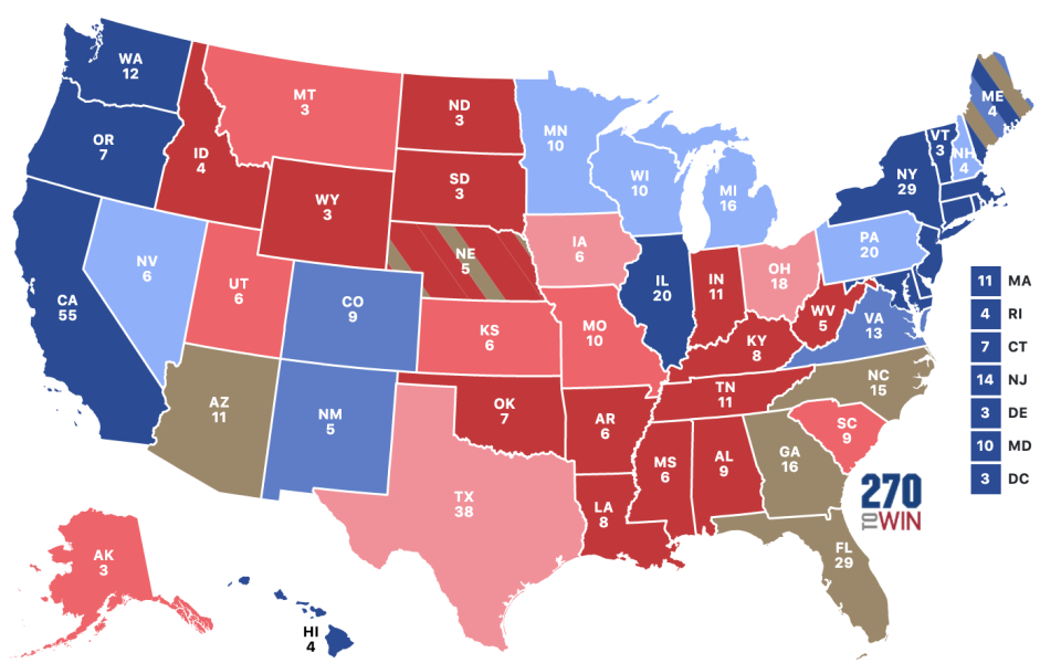 A map showing the Electoral College system and the number of votes for each state.