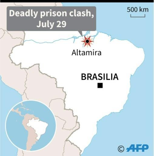A map of Brazil locating Altamira, where at least 52 people were killed in prison clashes