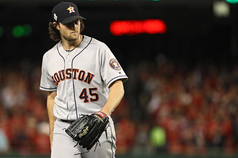 WASHINGTON, DC - OCTOBER 27: Gerrit Cole #45 of the Houston Astros reacts against the Washington Nationals in Game Five of the 2019 World Series at Nationals Park on October 27, 2019 in Washington, DC. (Photo by Patrick Smith/Getty Images)