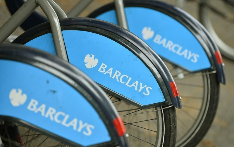 Bicylces for hire, sponsored by Barclays, are lined up in a rack in London