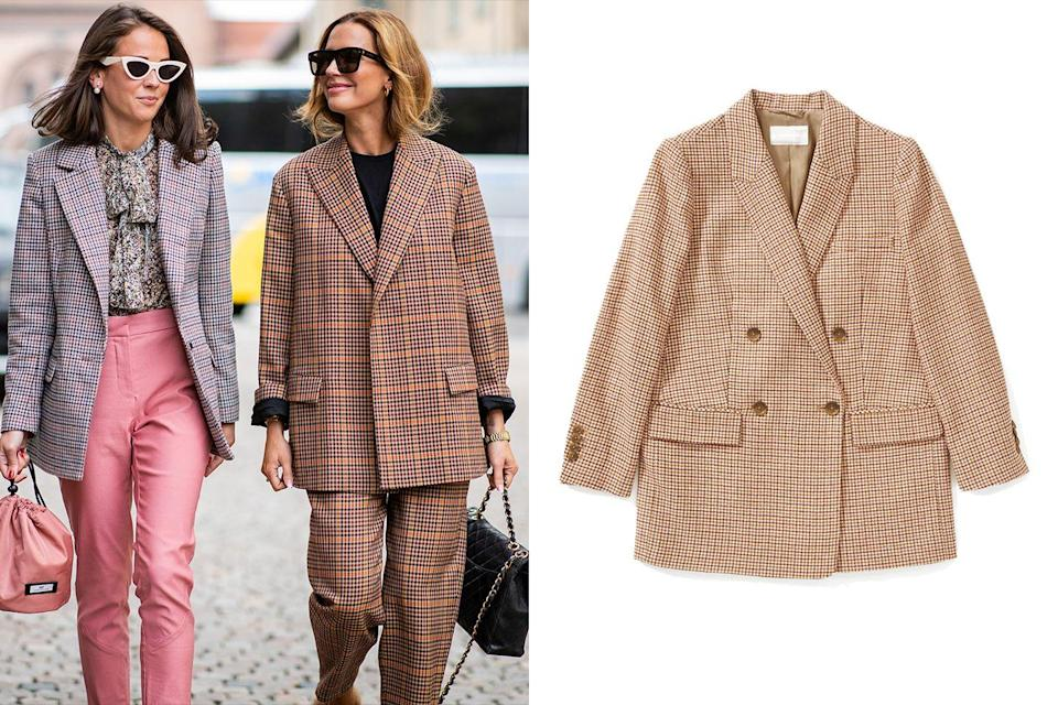 """<p>When getting ready in the morning is the last thing you want to do, take a cue from the boys and pair your boxy loose-fitting blazer with coordinating trousers to create a suit look requiring minimal effort with maximum results.</p><p><em><a href=""""https://www.everlane.com/products/womens-os-double-breasted-blazer-terracottahdsth"""" rel=""""nofollow noopener"""" target=""""_blank"""" data-ylk=""""slk:Everlane Oversized Double-Breasted Blazer"""" class=""""link rapid-noclick-resp"""">Everlane Oversized Double-Breasted Blazer</a>; $180</em></p>"""