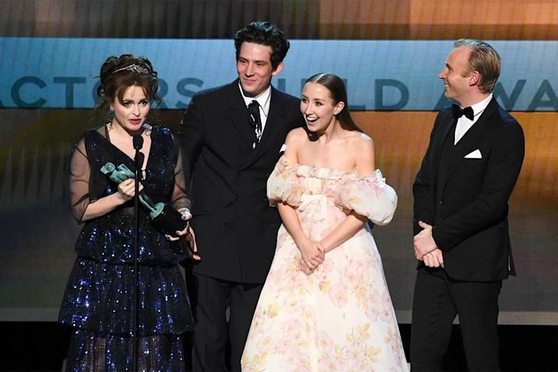 Helena Bonham Carter (L) at the cast of The Crown at the 2020 SAG Awards | ROBYN BECK/AFP via Getty