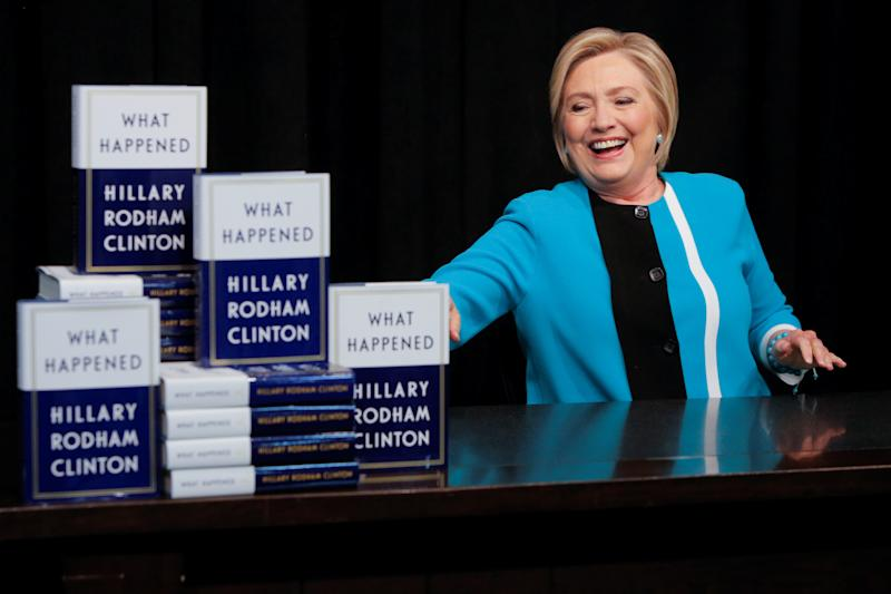 Hillary Clinton attends a book signing at the Union Square location of Barnes & Noble in New York City. (Andrew Kelly / Reuters)