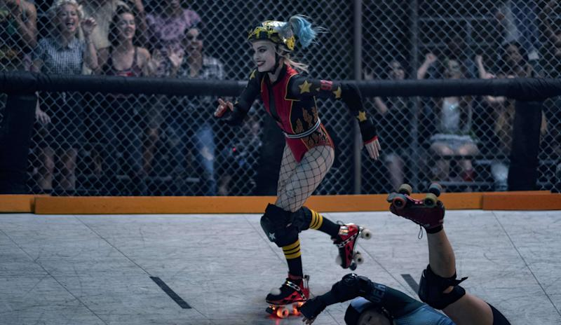 Margot Robbie's Harley Quinn straps on her skates in <i>Birds of Prey</i>. (Warner Bros.)