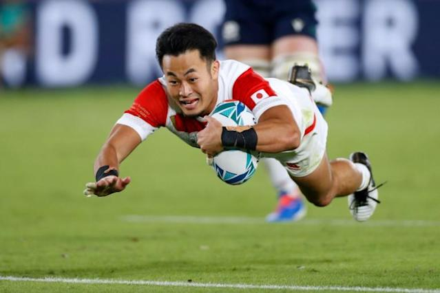 Japan's Kenki Fukuoka, seen here scoring against Scotland at last year's World Cup, will not be going to the delayed Olympics (AFP Photo/Odd ANDERSEN)