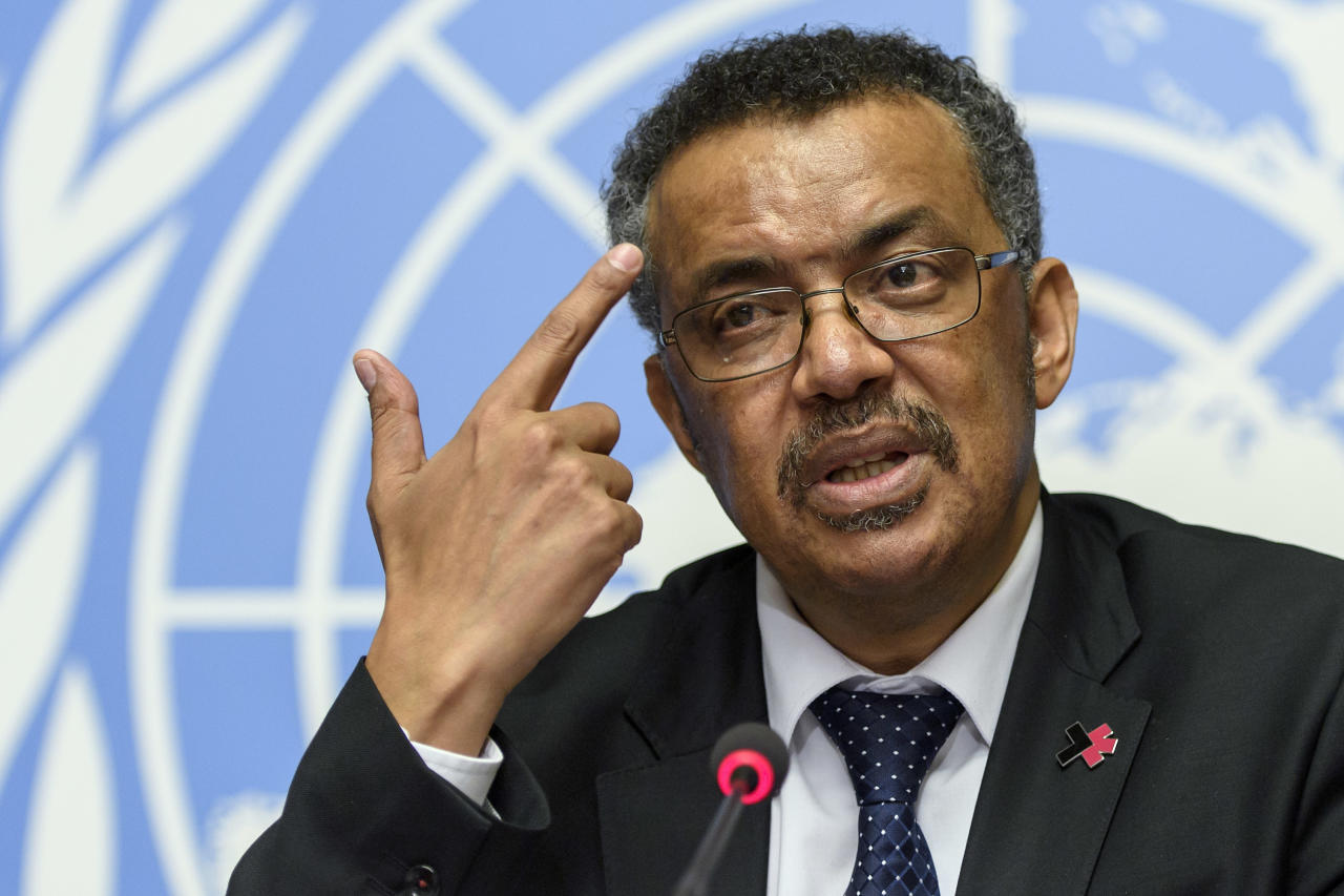 Tedros Adhanom Ghebreyesus, newly elected director general of the World Health Organization (WHO), answers questions of the journalists at the European headquarters of the United Nations in Geneva, Switzerland, Wednesday, May 24, 2017. (Martial Trezzini/Keystone via AP)