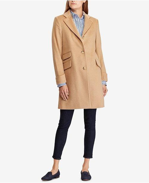 """<p>This pretty <a href=""""https://www.popsugar.com/buy/Lauren-Ralph-Lauren-Single-Breasted-Reefer-Coat-490272?p_name=Lauren%20Ralph%20Lauren%20Single%20Breasted%20Reefer%20Coat&retailer=macys.com&pid=490272&price=315&evar1=fab%3Aus&evar9=46613565&evar98=https%3A%2F%2Fwww.popsugar.com%2Ffashion%2Fphoto-gallery%2F46613565%2Fimage%2F46613575%2FLauren-Ralph-Lauren-Single-Breasted-Reefer-Coat&list1=shopping%2Cfall%20fashion%2Ccoats%2Cfall%2Cmacys&prop13=mobile&pdata=1"""" rel=""""nofollow"""" data-shoppable-link=""""1"""" target=""""_blank"""" class=""""ga-track"""" data-ga-category=""""Related"""" data-ga-label=""""https://www.macys.com/shop/product/lauren-ralph-lauren-single-breasted-reefer-coat?ID=9393997&amp;CategoryID=269&amp;swatchColor=Camel#fn=sp%3D1%26spc%3D1060%26ruleId%3D105%7CBOOST%20SAVED%20SET%7CBOOST%20ATTRIBUTE%26searchPass%3DmatchNone%26slotId%3D29"""" data-ga-action=""""In-Line Links"""">Lauren Ralph Lauren Single Breasted Reefer Coat</a> ($315) is ideal for Fall.</p>"""