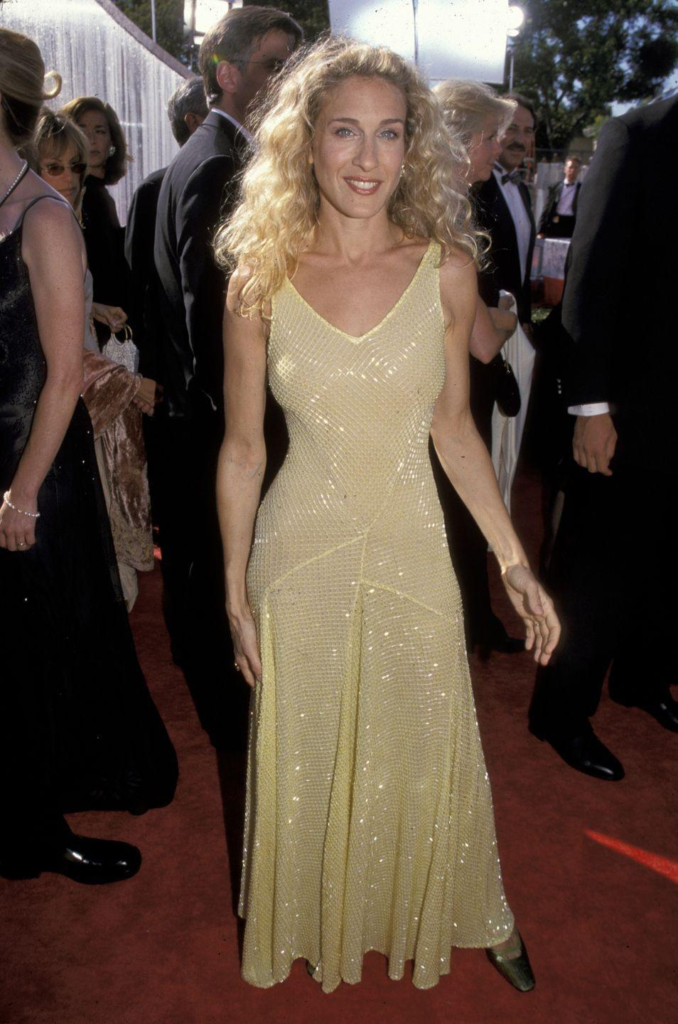 <p>Parker shined in yellow on the Emmy Awards red carpet in 1999. </p>